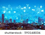night modern city with internet ... | Shutterstock . vector #593168036