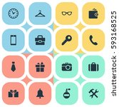 set of 16 simple instrument...   Shutterstock .eps vector #593168525