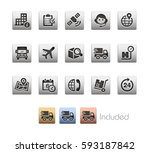 shipping and tracking icons  ... | Shutterstock .eps vector #593187842