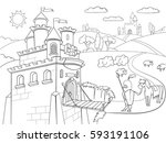 kids coloring cartoon knightly... | Shutterstock .eps vector #593191106