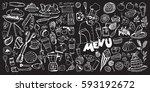 hand drawn food elements. set... | Shutterstock .eps vector #593192672