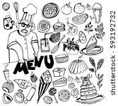 hand drawn food elements. set... | Shutterstock .eps vector #593192732