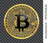 crypto currency golden coin... | Shutterstock .eps vector #593193626