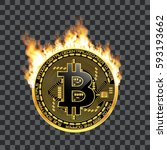 crypto currency golden coin...   Shutterstock .eps vector #593193662