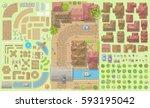 vector set. old city.  top view ... | Shutterstock .eps vector #593195042