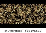 vector ornate seamless golden... | Shutterstock .eps vector #593196632