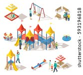 colorful isometric playground... | Shutterstock .eps vector #593196818