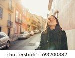 enjoying beautiful warm and... | Shutterstock . vector #593200382