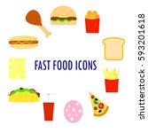set of fast food icons. flat... | Shutterstock .eps vector #593201618