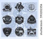 vintage artificial intelligence ... | Shutterstock .eps vector #593202356