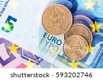 euro coins top view | Shutterstock . vector #593202746