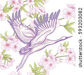 seamless pattern with japanese... | Shutterstock .eps vector #593203082