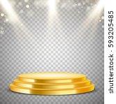gold round podium with blur... | Shutterstock .eps vector #593205485