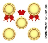 set of gold medal awards ... | Shutterstock .eps vector #593205608