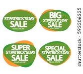 set speech bubble banners ... | Shutterstock .eps vector #593206325