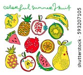 bright summer fruit  watermelon ... | Shutterstock .eps vector #593207105