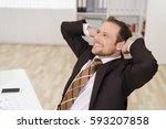 relaxed successful businessman...   Shutterstock . vector #593207858