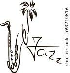 silhouette of saxophone... | Shutterstock .eps vector #593210816