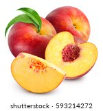 peach fruits with green leaf... | Shutterstock . vector #593214272
