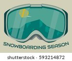 snowboard goggles reflecting... | Shutterstock .eps vector #593214872