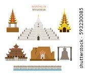 mandalay  myanmar  architecture ...   Shutterstock .eps vector #593230085