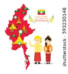 myanmar map and landmarks with...   Shutterstock .eps vector #593230148