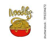 hand drawn doodle noodle... | Shutterstock .eps vector #593234672