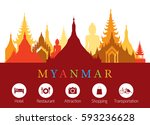 myanmar landmarks skyline with...   Shutterstock .eps vector #593236628