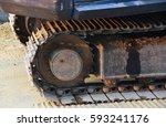 bulldozer track on sand  | Shutterstock . vector #593241176