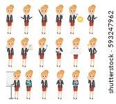 business woman character in job.... | Shutterstock .eps vector #593247962
