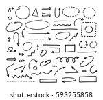 hand drawn vector arrows set on ... | Shutterstock .eps vector #593255858
