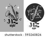 jazz emblem with a saxophone... | Shutterstock .eps vector #593260826