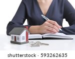 model of house with key and... | Shutterstock . vector #593262635