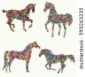 vector silhouette of a horse.... | Shutterstock .eps vector #593263235