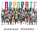 crowd of business people... | Shutterstock .eps vector #593265812