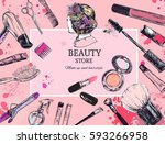 cosmetics and beauty background ... | Shutterstock .eps vector #593266958