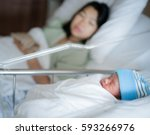 new born baby just delivery... | Shutterstock . vector #593266976