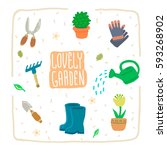 garden objects and tools cute... | Shutterstock .eps vector #593268902
