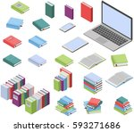 isometric books and laptop... | Shutterstock .eps vector #593271686