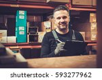 storekeeper with manual picking ... | Shutterstock . vector #593277962
