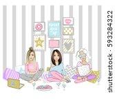 beautiful girlfriends on a... | Shutterstock .eps vector #593284322