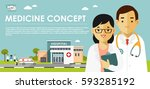 medicine concept with doctors... | Shutterstock .eps vector #593285192