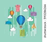 travel landmark concept vector...   Shutterstock .eps vector #593286266