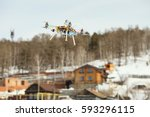 copter flies on the background... | Shutterstock . vector #593296115
