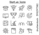 startup icon set in thin line... | Shutterstock .eps vector #593297582