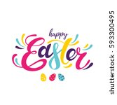 happy easter colorful lettering | Shutterstock .eps vector #593300495
