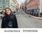 enthusiastic traveler woman... | Shutterstock . vector #593303306