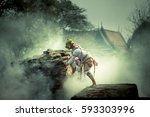 thai ramayana literature actor... | Shutterstock . vector #593303996