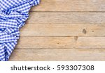 blue table cloth on wooden... | Shutterstock . vector #593307308