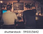 cheerful old friends drinking... | Shutterstock . vector #593315642